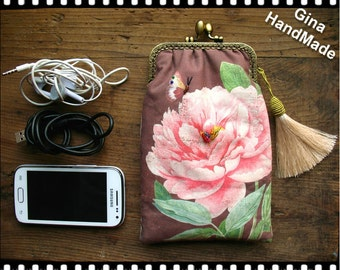 Butterfly and Peony iphone case / iphone sleeve / coin purse / wallet / pouch / wedding clutch / kiss lock frame purse bag -GinaHandmade