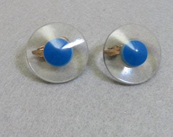 1960s Clear and Blue Lucite Button Clip Earrings