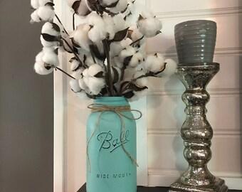 Cotton Arrangement.Farmhouse Decor.Fixer Upper Decor.Mason Jar Decor.Farmhouse.Rustic Home Decor.Rustic Decor.Cotton Stems.Cotton.Mason Jar