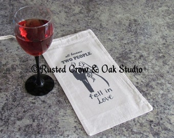 Wine Bag Wedding Gift All Because Two People Fell In Love Wedding Shower Gift Bag Wine Tote A027