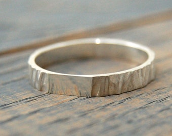 Rustic wedding ring for women, Tree Bark Silver Ring, Wedding band women silver, Women wedding Ring, wedding rings for women, Nature Rings