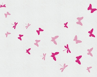 Butterfly, Decal Dragonfly Wall Decal, Butterfly Mural, Nursery Wall Decor, Butterfly Nursery Wall Art Baby Girl Gift