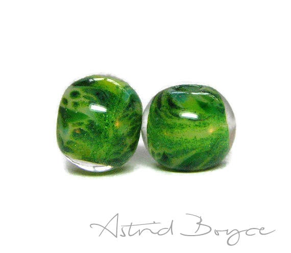 Fir Trees Round Beads Artisan Lampwork Bead Pair - Free USA Shipping - Pantone Greenery - Pantone 2017 Color of the Year-Adventurine Sparkle