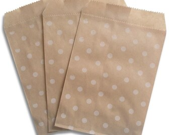 100 Kraft and White Polka Dot Paper Bags, 4 x 5 1/4 inches, Flat Favor Bags
