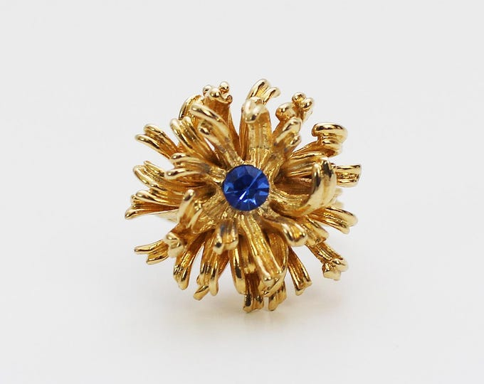Gold Chrysanthemum Ring - Vintage 1960s Adjustable Sapphire Blue Stone Cocktail Ring - Statement Ring