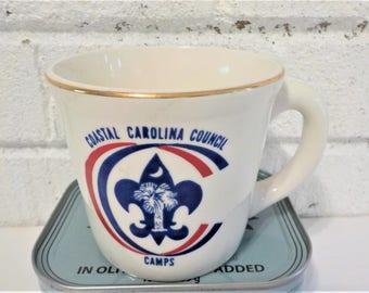 Boy scout coffee mug, vintage boy scout, scouting coffee mug,Coastal Carolina Council Camp, palmetto, blue white red, boy scout collectible