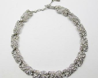 Vintage-Collectible-Jewelry-Silver-Rhinestone-Necklace-Costume Jewelry-Unique-Women-Gift-Birthday Gift-Anniversary Gift-Wedding-1950s