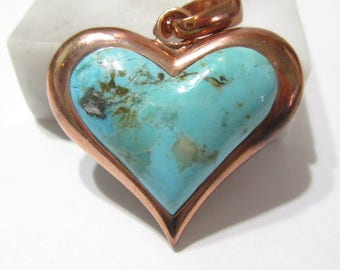 Copper and Faux Turquoise Heart Pendant Chunky Signed NR Thailand Pendant Enhancer Southwestern Style