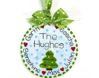 FREE Shipping - Personalized Ceramic Christmas Ornament - Ceramic Christmas Ornaments - Personalized Ceramic Family Christmas Tree Ornament