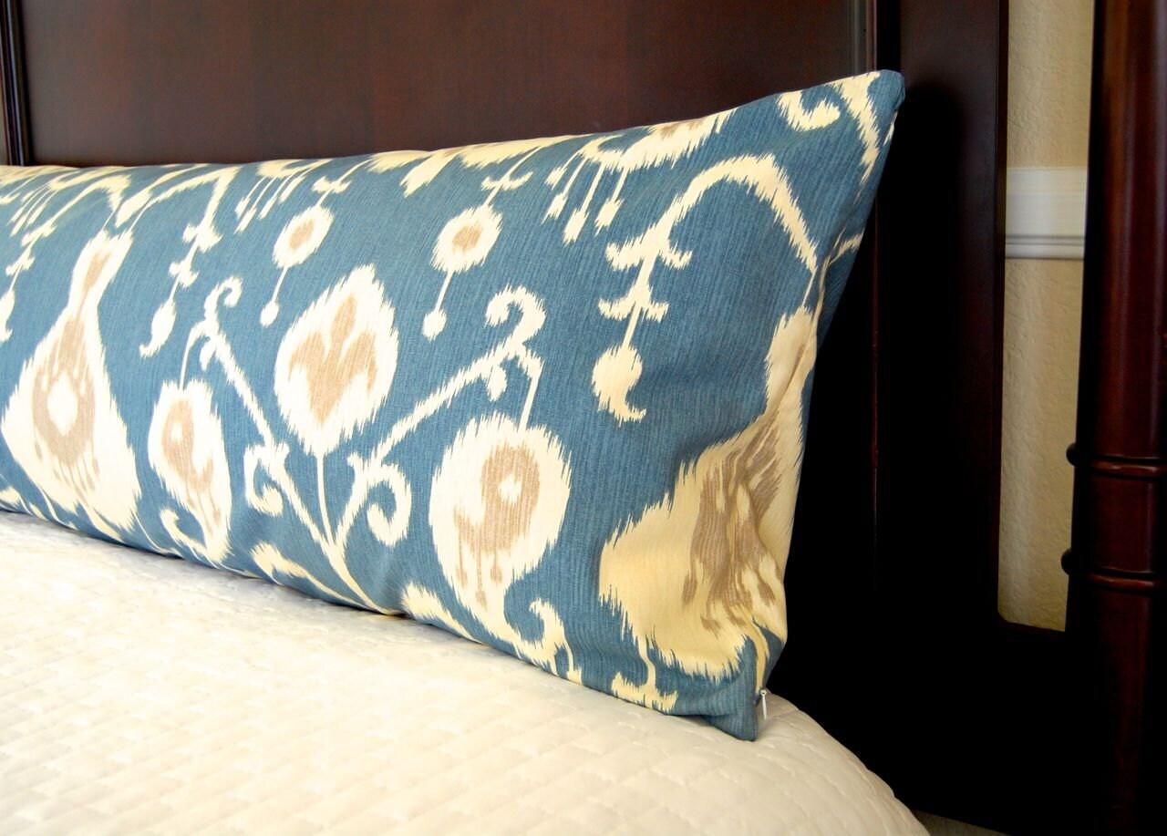 Body Pillow Cover Blue Ikat 16 x 16 Decorative Throw