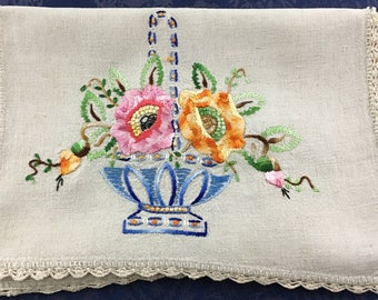 Vintage Linen Hand Crafted Table Runner with Large Embroidered Flowers 45 x 16  R60