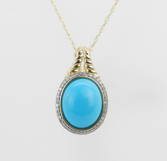 """Diamond and Turquoise Halo Pendant Enhancer Necklace 14K Yellow Gold 18"""" Chain"""