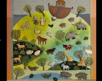 Noah's Ark 18 x 24 Poster reproduction of fabric relief embroidery