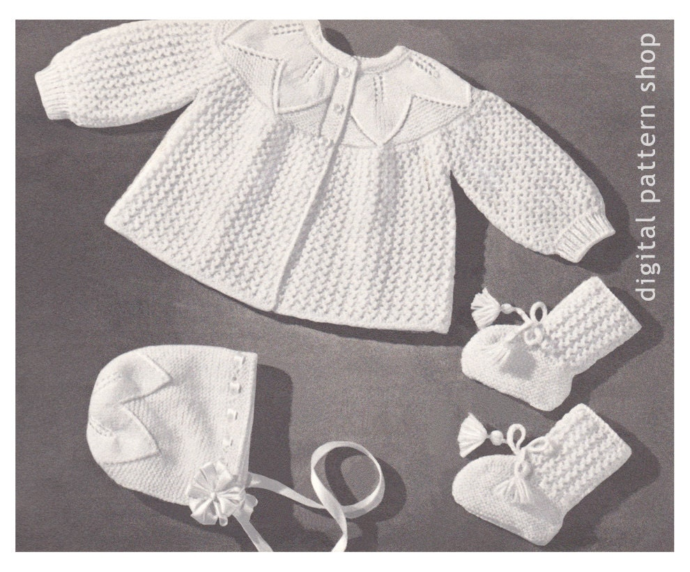 Vintage Baby Knitting Pattern Sweater Bonnet Booties Leaf &