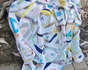 Quilt top, vintage patchwork, 1960s quilting, unfinished quilt, Log Cabin . unfinished patchwork, home made quilt top