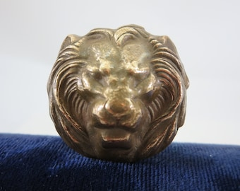 Art Nouveau Brass Hat Pin - Lion Head