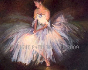 Ballerina Print Dress Most Popular Print Blue and Pink Ballerina Print Wall Art Room Decor from Original Oil Painting Gift Idea