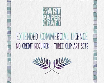No Credit Required Extended Commercial Licence for Three Clip Art Sets