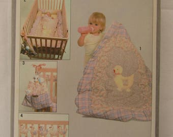 Vintage 1979 Simplicity pattern #8952 features ducks and includes 16 pieces for baby - Quilt, Bumpers, Diaper Bag, Crib Toy