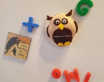 Cute handmade felt OWL fridge magnet