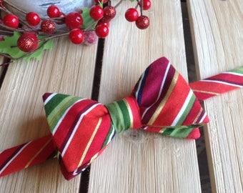 Festive Christmas Stripes Dog Bow Tie Medium
