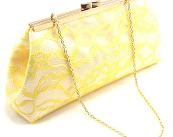 Bridesmaid Gift Clutch, White And Yellow Bridal Clutch, Wedding Clutch Mother Of The Bride Gift Wedding Party Gifts Gift Ideas Gifts For Her