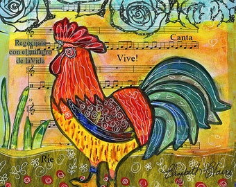 Colorful Rooster 5X5 Blank Greeting Card by Elizabeth Claire