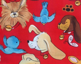 Pip and Pals Quilt Fabric - Red pip & pals - Alexander Henry Puppy Fabric - Dogs and Birds - Children s Fabric - 1 yard
