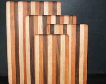 Handmade Multi-Wood Maple, Cherry, Walnut Cutting and Serving Boards