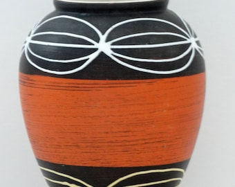 Carstens Mid Century Black Rust & White West German Bud Vase