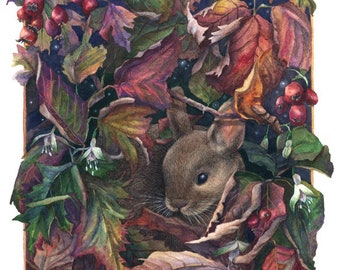 Fine Art Print of Original Watercolor Painting - Autumn Refuge