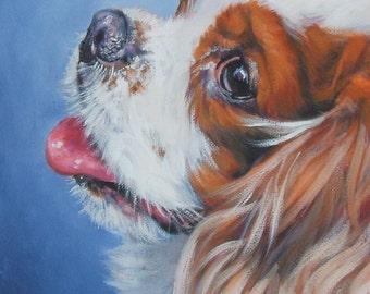 Cavalier King Charles Spaniel dog art CANVAS print of LA Shepard painting  8x10 dog portrait