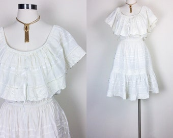 vintage ruffled dress boho dress midi dress size M/L