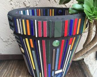 "HandCrafted Mosaic Flower Pot/Planter Original Mid-Century Modern Design, 8"" Size, Bright Multi-Colored Tiles & Black Grout Popular Design"