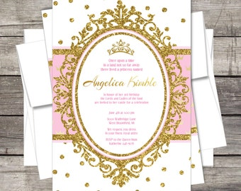 Royal Princess Birthday Party Invitation, Pink, Gold, Glitter, Crown  Customized For You