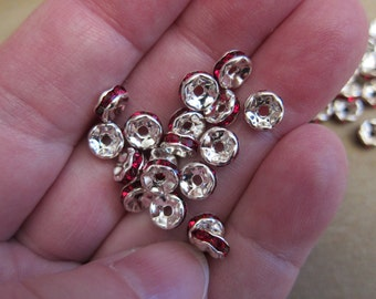 6x3mm, Rondelle Spacer Beads, Silver Plated Brass, Siam Red Glass Rhinestones - Available in 4, 6 & 10 Bead Pkgs and in Larger Pkgs