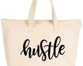 Hustle tote / tote bag, diaper bag, gym bag, reusable bag, mom bag, canvas tote, canvas bag