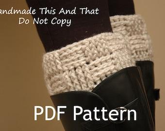 INSTANT DOWNLOAD - Crochet Pattern - Womens boot cuff, leg warmers, boot socks, boot toppers - Basketweave/checker boot cuffs