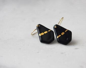 Porcelain handmade darkest blue geometric dangle earrings with handpainted gold