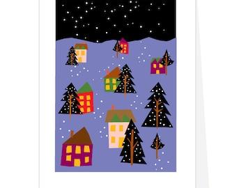 snowy night sky village  4 greeting cards winter village