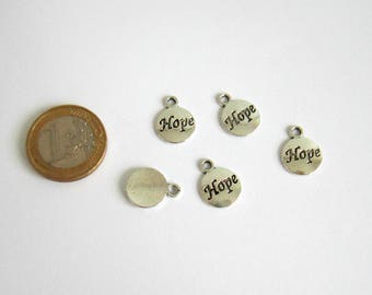 """5 charms, """"Hope"""" Silver 15 x 12 mm"""