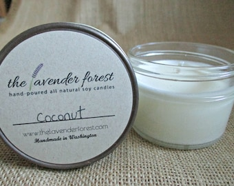 coconut // hand-poured 4oz jelly jar soy candle // natural soy wax // highly scented // rustic