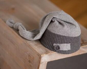 Newborn Hat, Newborn Boy Hat, Upcycled Newborn Hat, Gray Newborn Hat with Button, Newborn Photography Prop, Photo Prop, Newborn Sleep Cap