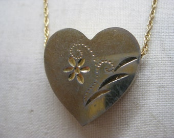 Shabby Heart Flower Gold Necklace Vintage Pendant