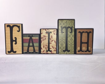 Faith Wood Blocks -- VINTAGE JEWEL -- Wood Blocks -- Red, Moss Green and Tan