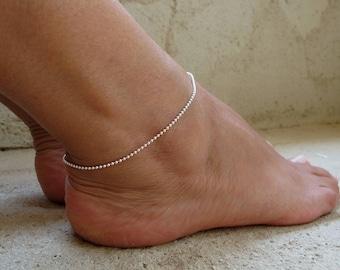 Sterling Silber Fußkettchen, zarte fußkettchenarmband, Kugel-Kette-Knöchel-Armband