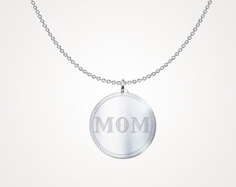 """Mommying Necklace - Mommying Jewelry """"MOM"""" .925 Sterling Silver Necklace"""