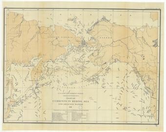 Bering Sea Map - Sea Currents - 1880