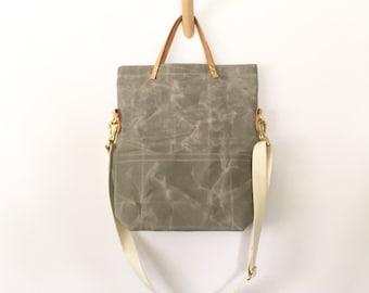 ALUMINUM / waxed canvas field bag / crossbody foldover tote