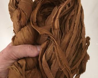 SALE 100 grams 1 skeins recycled silk   ribbon  knitting crochet craft embellishment yarn brown